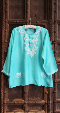 Hand Embroidered Pale Blue Silk Shirt
